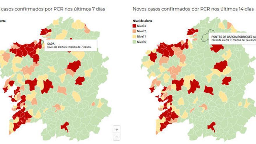 El área coruñesa cierra la semana con diez concellos en alerta roja por Covid