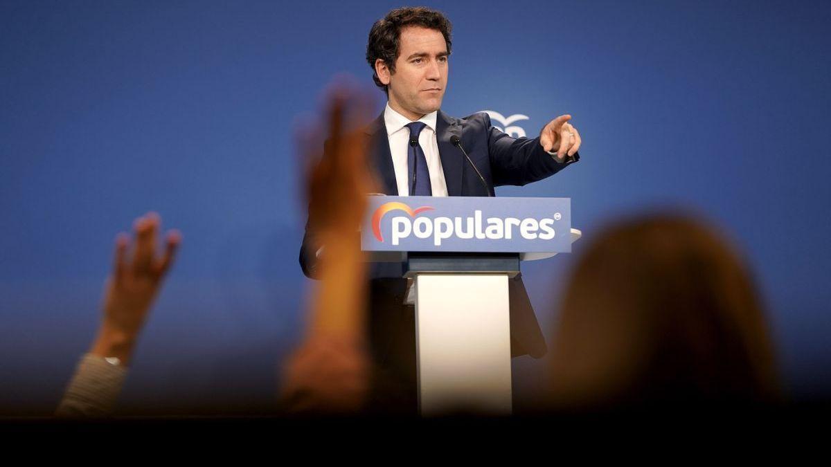Teodoro García Egea durante una rueda de prensa del Partido Popular.