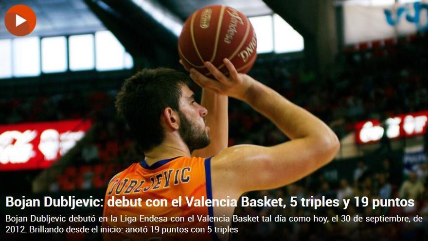Vídeo: Así fue el espectacular debut de Bojan Dubljevic con el Valencia Basket hace nueve años
