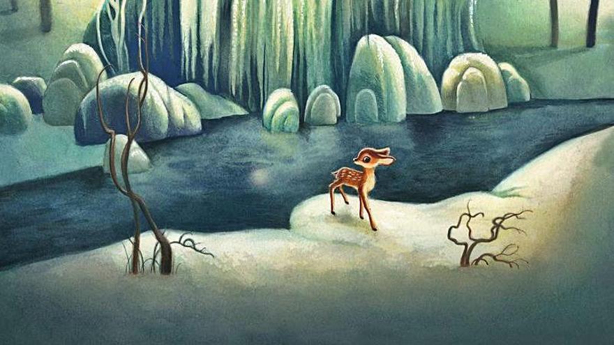 Il·lustracions de Lacombe que acompanyen el text original de 'Bambi', de Felix Salten.