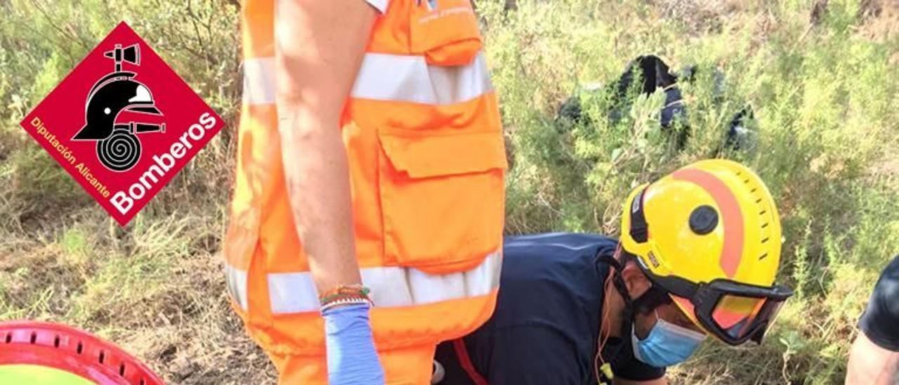 El accidentado, herido en Banyeres