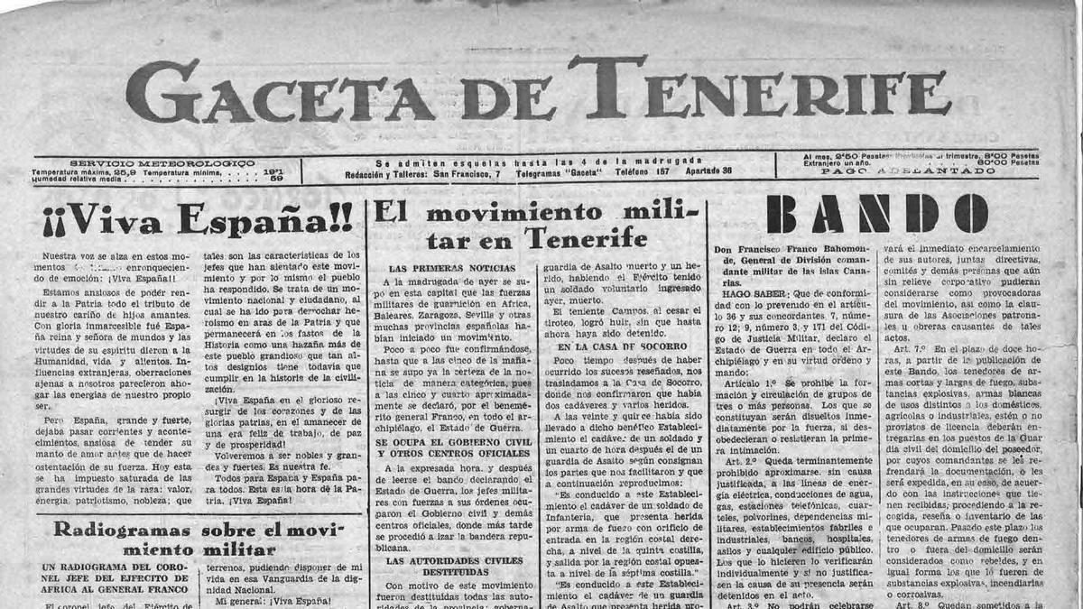 Primera página del diario católico 'Gaceta de Tenerife', del 19 de julio de 1936, celebrando el golpe de Estado. | | E.D.