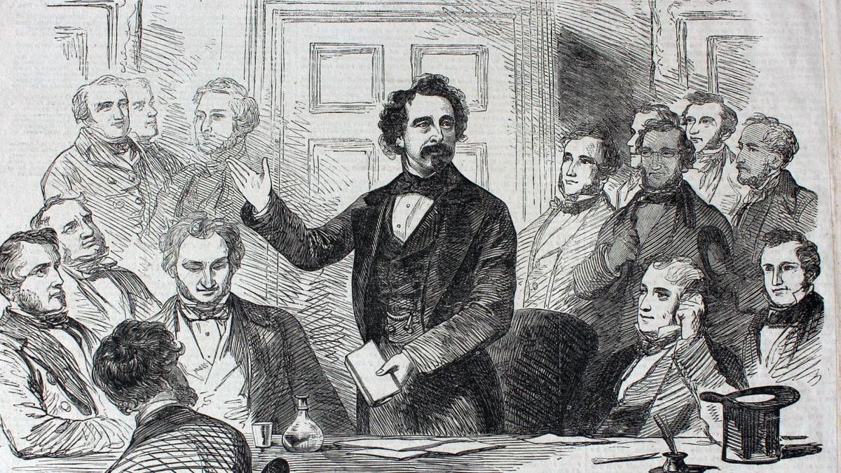 Ilustración de Dickens leyendo una de sus historias.