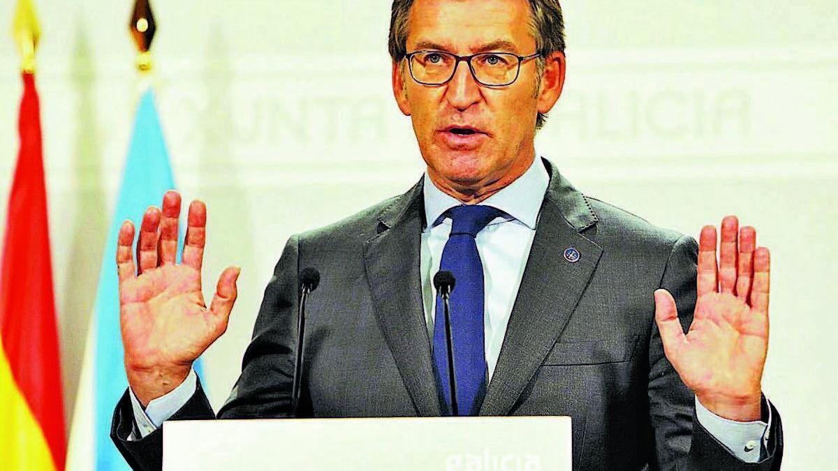 El presidente de la Xunta, ayer, tras la Conferencia de Presidentes.