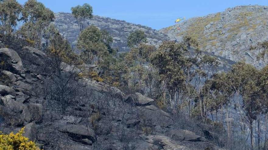 Un agente forestal, herido y cerca de cien hectáreas quemadas en el incendio de Boiro