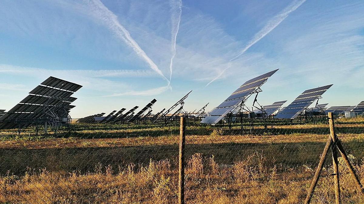 Placas solares de uno de los huertos implantados en el municipio de Toro. | M. J. C.
