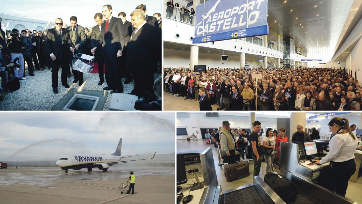 Montaje fotográfico de varios momentos clave en el aeropuerto.