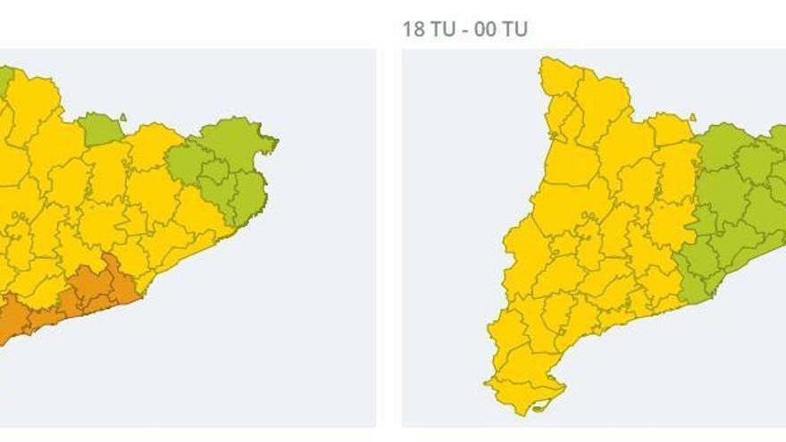 Alerta per xàfecs intensos que poden afectar la Catalunya Central fins demà