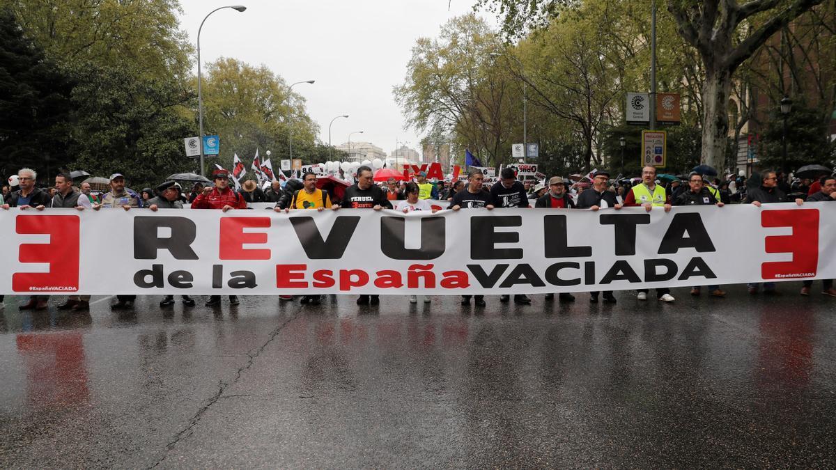 Cabecera de la manifestación celebrada hace dos años en Madrid para reclamar soluciones en la España Vaciada.