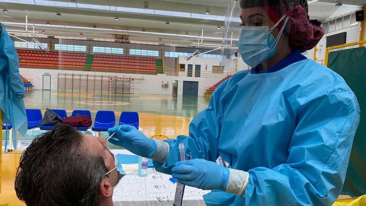 Realización de una prueba de coronavirus.
