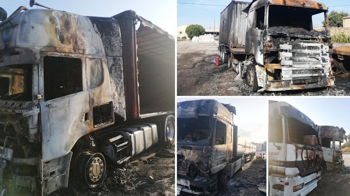 Investigan el incendio provocado en una campa de camiones de Castelló