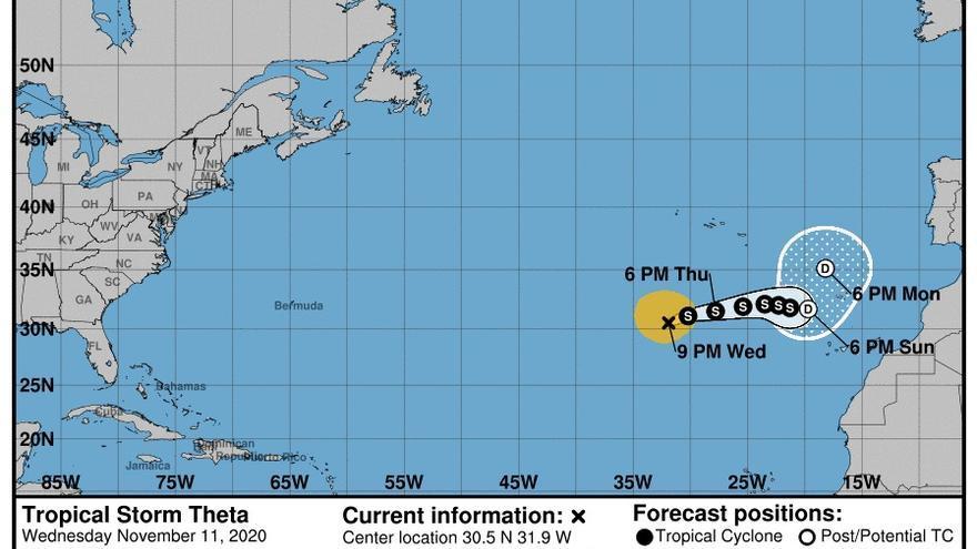 Las previsiones apuntan a que 'Theta' rozará Canarias