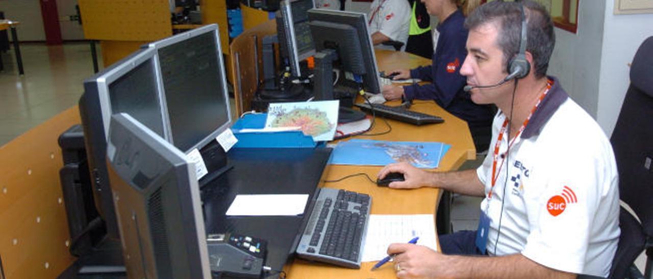 Sala del 112, servicio que depende de la empresa pública Gestión de Servicios para la Salud y Seguridad en Canarias (GSC).|