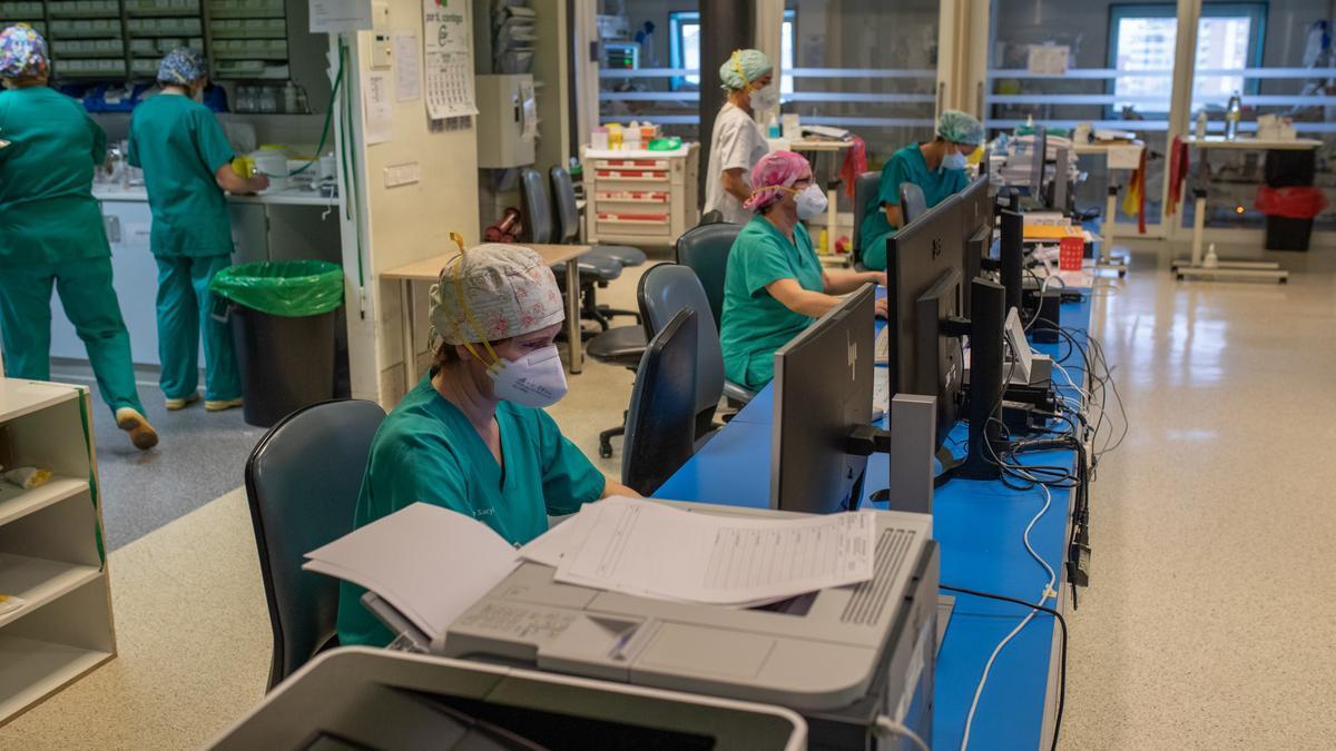 Vista de la UCI de Zamora, actualmente con tres pacientes de coronavirus ingresados