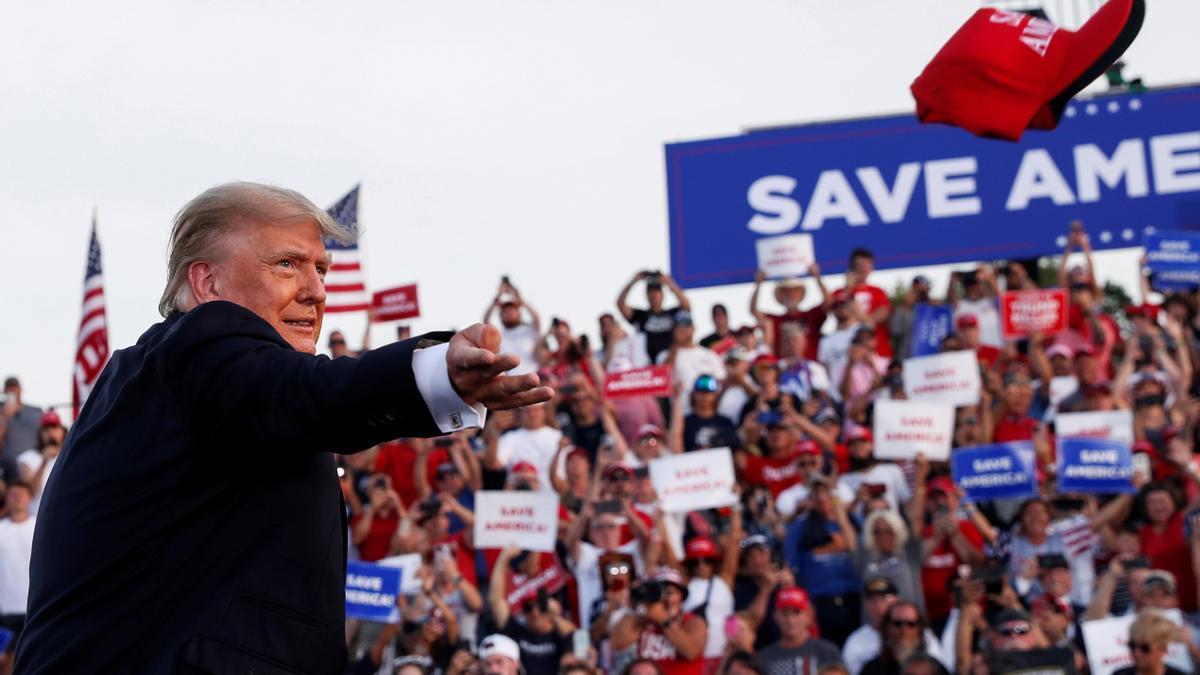 Donald Trump durante un acto electoral
