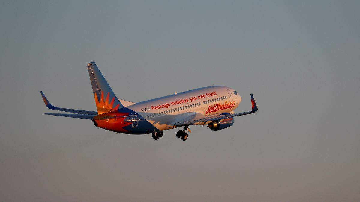 FILE PHOTO: A Jet2 Boeing 737 airplane takes off from the airport in Palma de Mallorca