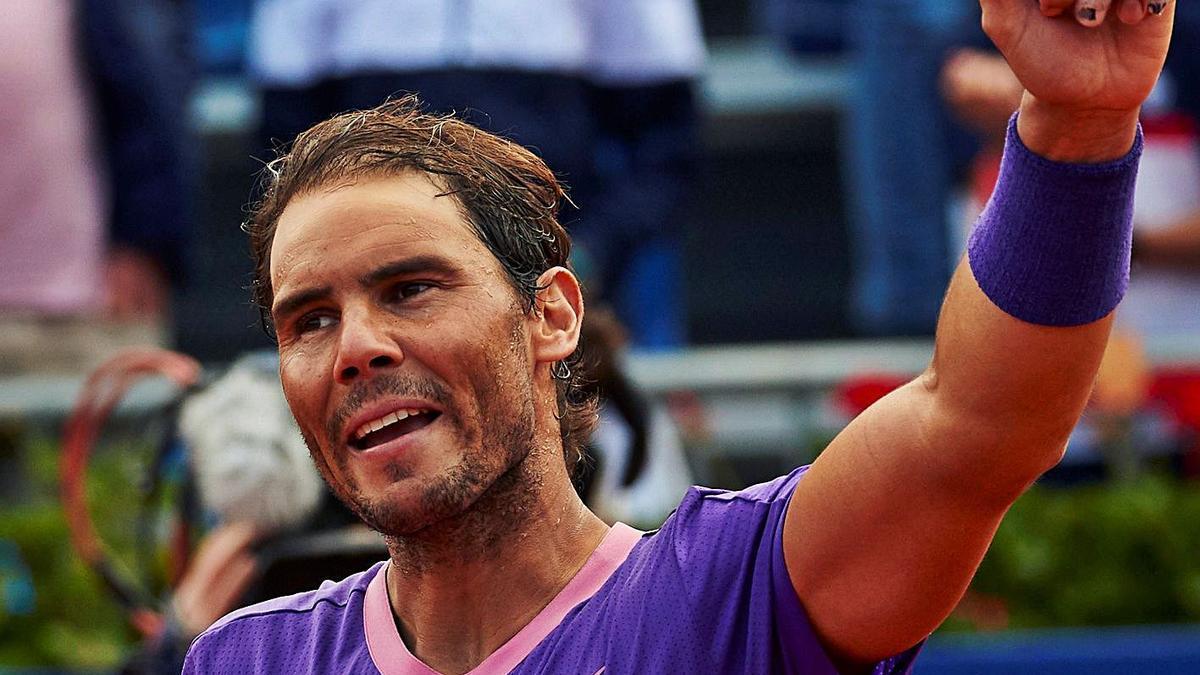 Rafel Nadal celebra el pase a la final del Barcelona Open Banc Sabadell-Conde de Godó.