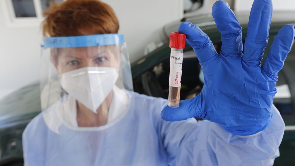 A health worker shows a sample in a tube.