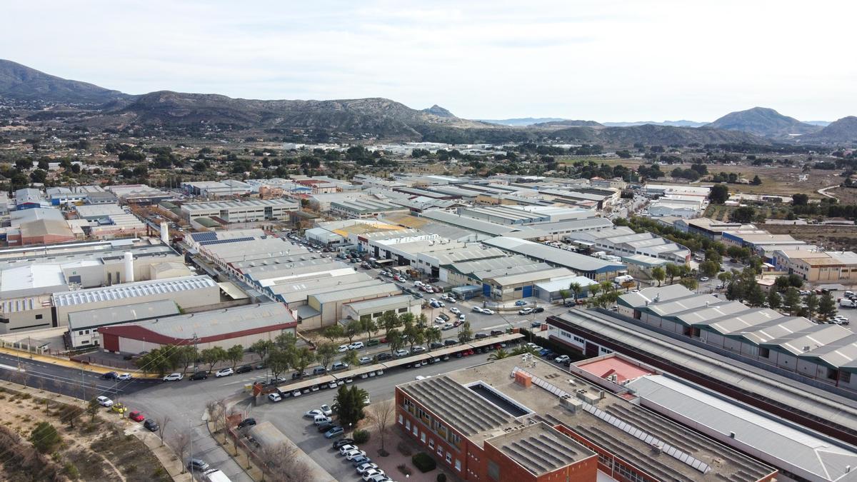 Vista aérea del polígono industrial Campo Alto de Elda.