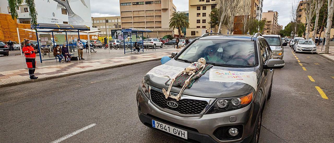 Manifestación de sanitarios celebrada el pasado mes de febrero en Ibiza