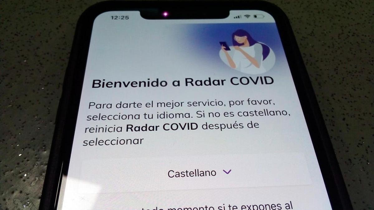 La pantalla de bienvendia de la aplicación Radar Covid
