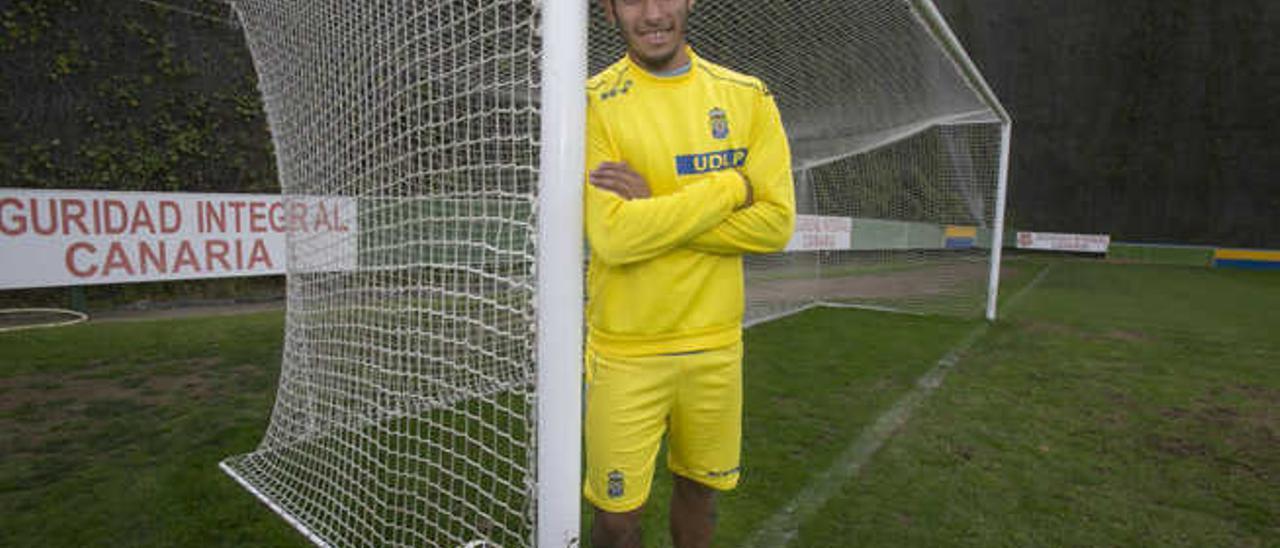 El delantero argentino de la UD Las Palmas, Sergio Araujo, tras el entrenamiento del jueves en Barranco Seco.