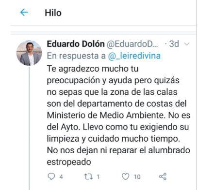 Respuesta de Eduardo Dolón en twitter a las quejas sobre la falta de limpieza en las playas
