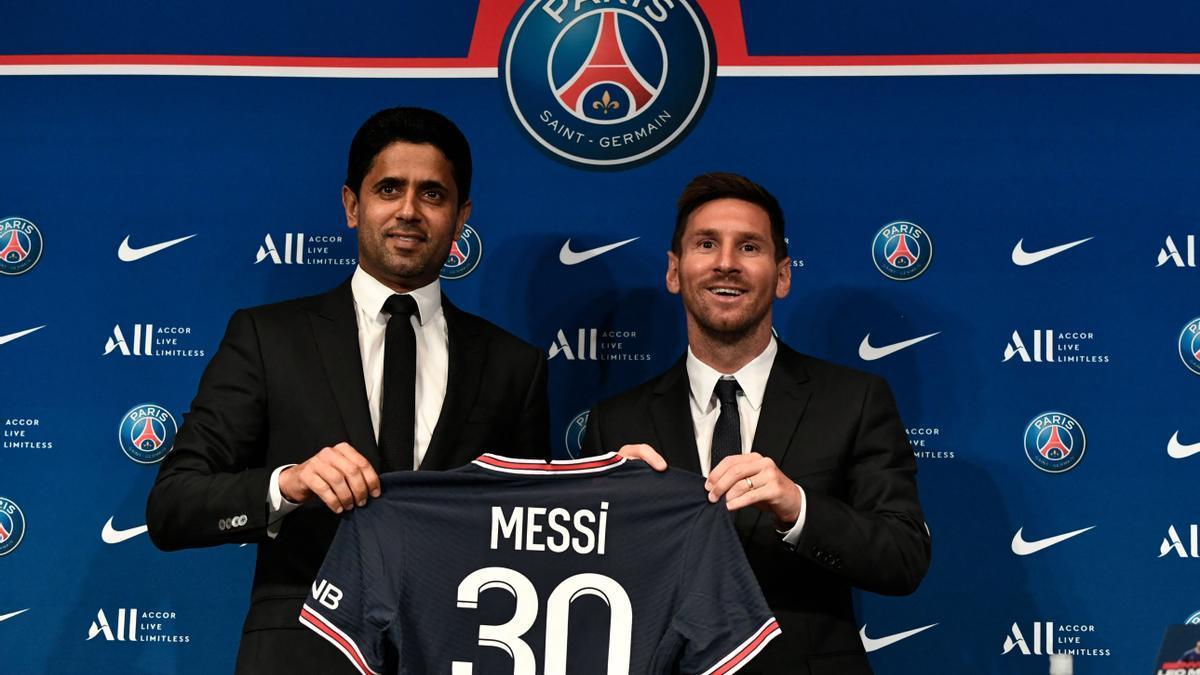 Leo Messi durante su presentación como nuevo jugador del PSG.