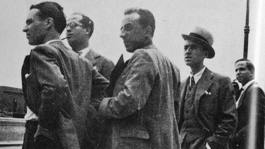 Desde la izquierda, Pérez Minik, Márquez Peñate, López Torres, Espinosa y Gutiérrez Albelo. | | LP/DLP