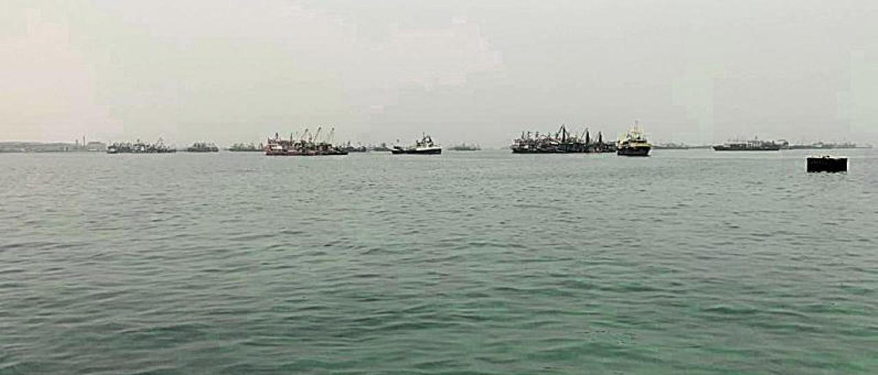 Pesqueros fondeados, ayer frente a Nouadhibou