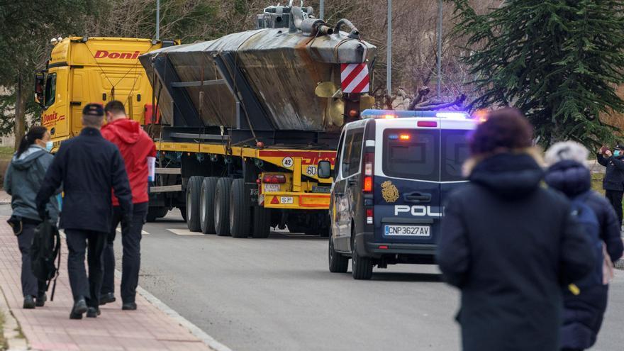 El primer narcosubmarino interceptado en Europa llega a la Escuela de Policía de Ávila