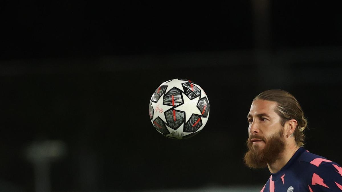 Sergio Ramos en un entrenamiento.