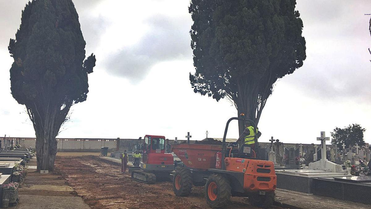 Trabajos de mejora del paseo central del cementerio municipal de Benavente.   J. A.  G.