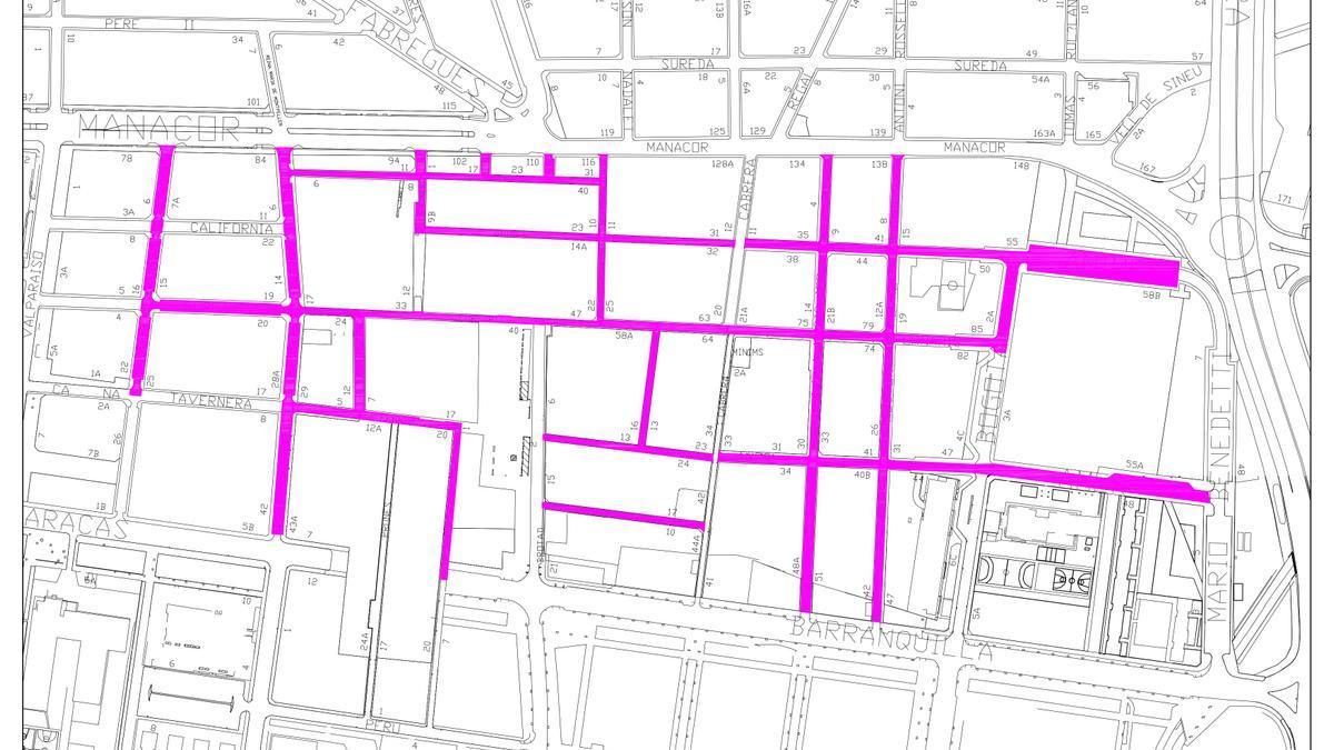 Calles en las que se va a renovar el pavimento asfáltico.
