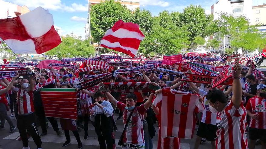 VÍDEO | Almendralejo se tiñe de rojiblanco: así anima la afición del Zamora CF