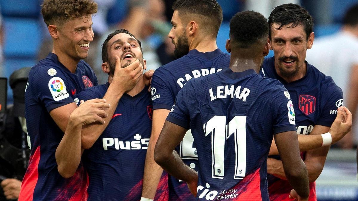 Els jugadors de l'Atlètic de Madrid, celebrant un gol