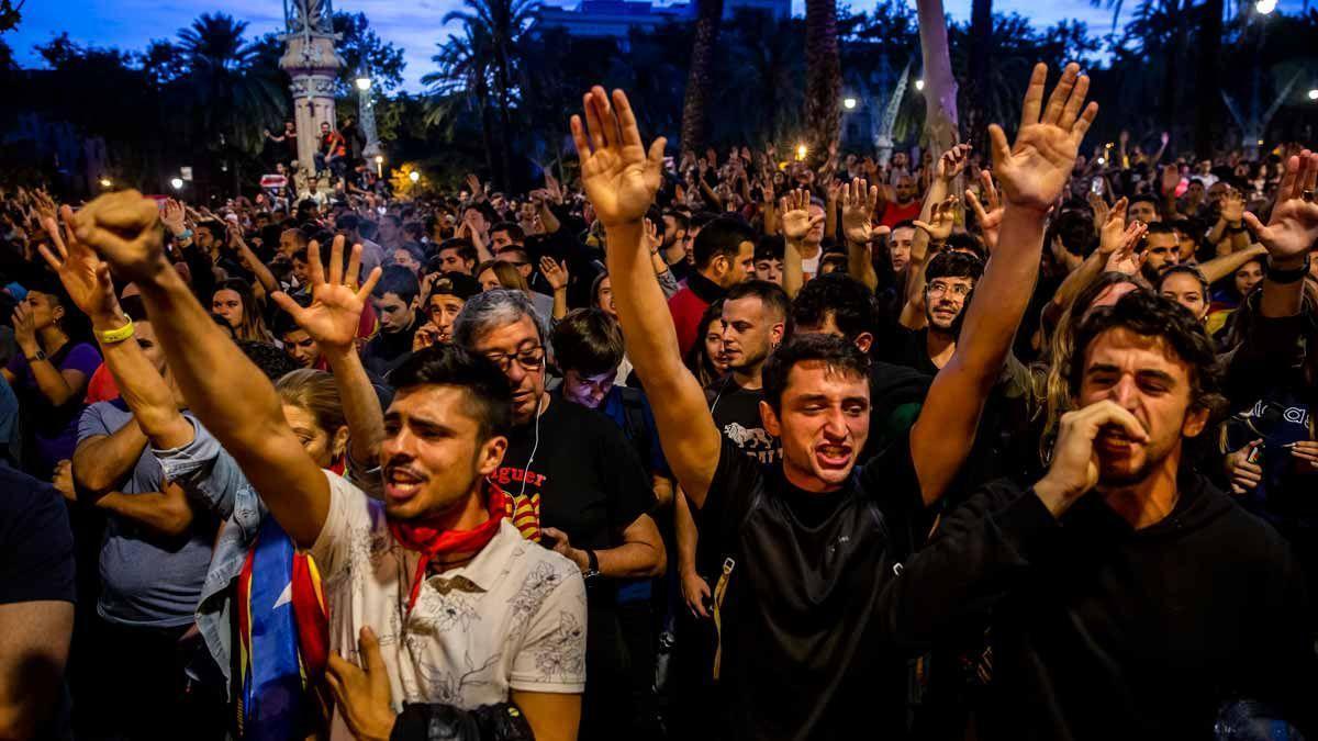 Concentración en protesta por la sentencia del procés, el 18 de octubre del 2019.