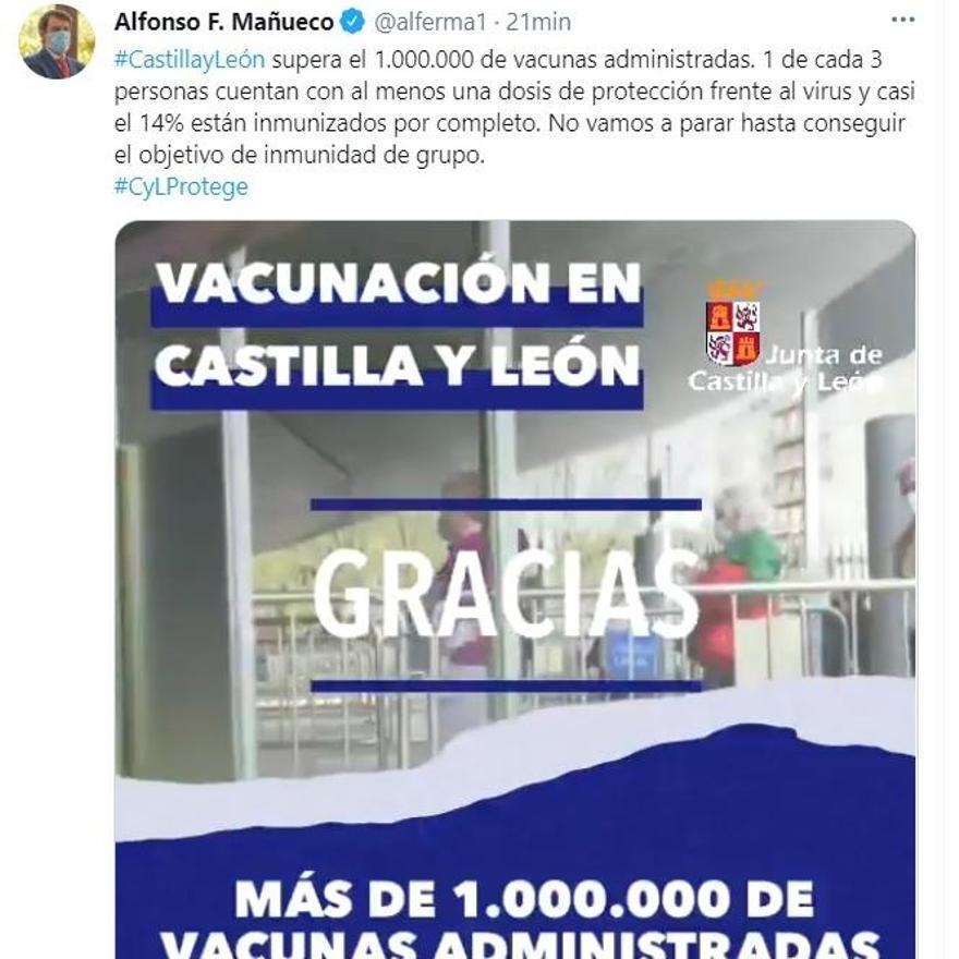 Imagen del tuit publicado por el presidente Mañueco en la red social.
