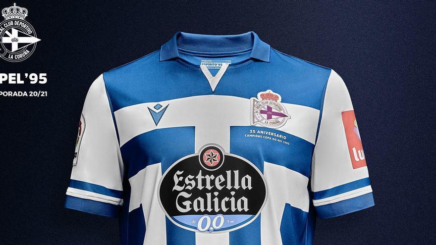 El Dépor presenta la camiseta principal de la temporada 2020-21 en homenaje al Dépor campeón de Copa en 1995