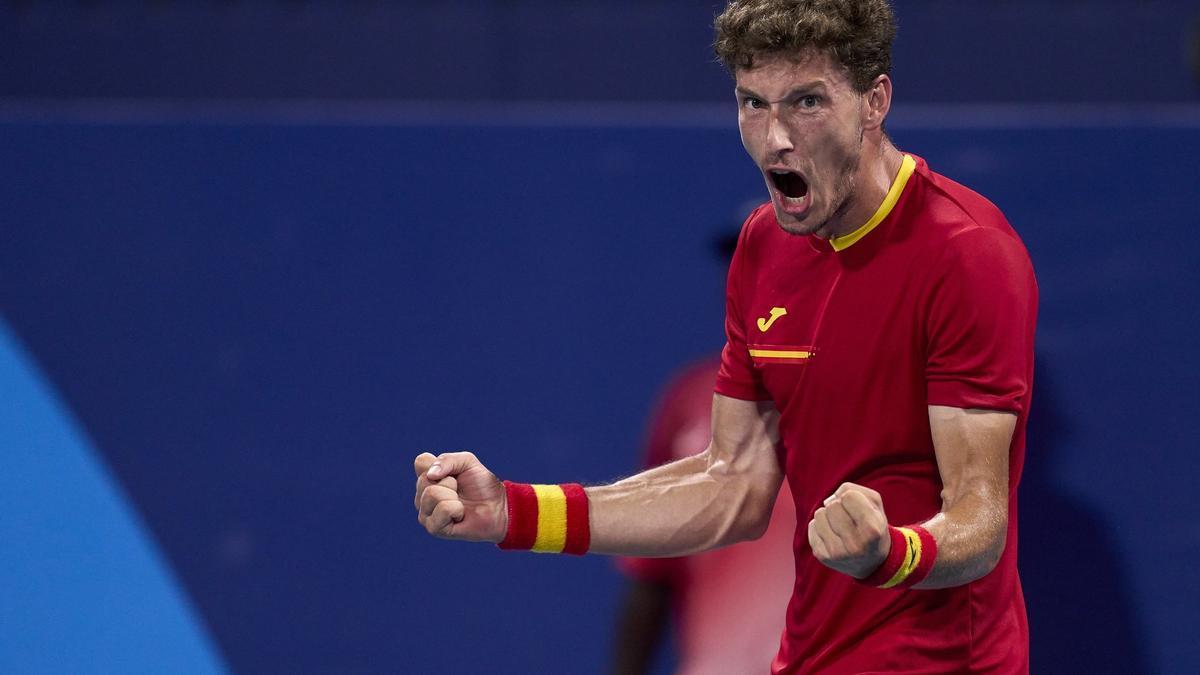 El tenista espanyol Pablo Carreño celebra un triomf en els Jocs Olímpics de Tòquio 2020.