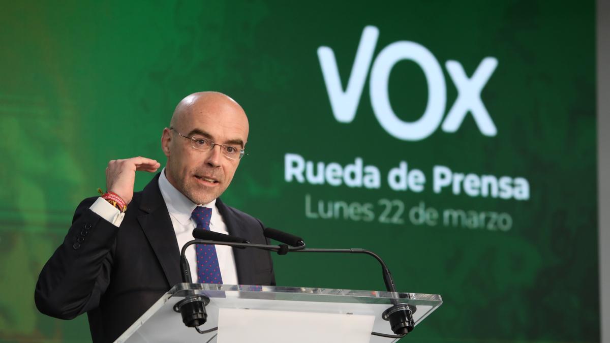 Jorge Buxadé, en rueda de prensa