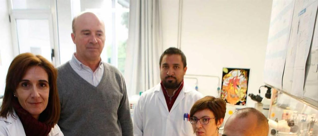 El equipo de investigación de selección de embriones del Serida: por la izquierda, Marta Muñoz, Enrique Gómez, Antonio Murillo, Susana Carrocera y David Martín.