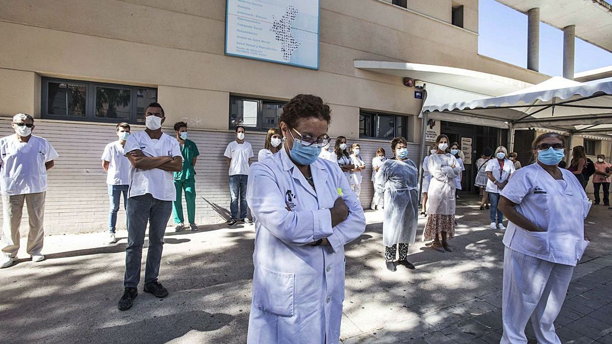 A protest at the San Blas health center, during the pandemic.