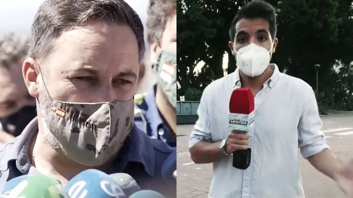 El líder de Vox, Santiago Abascal y el reportero de televisión