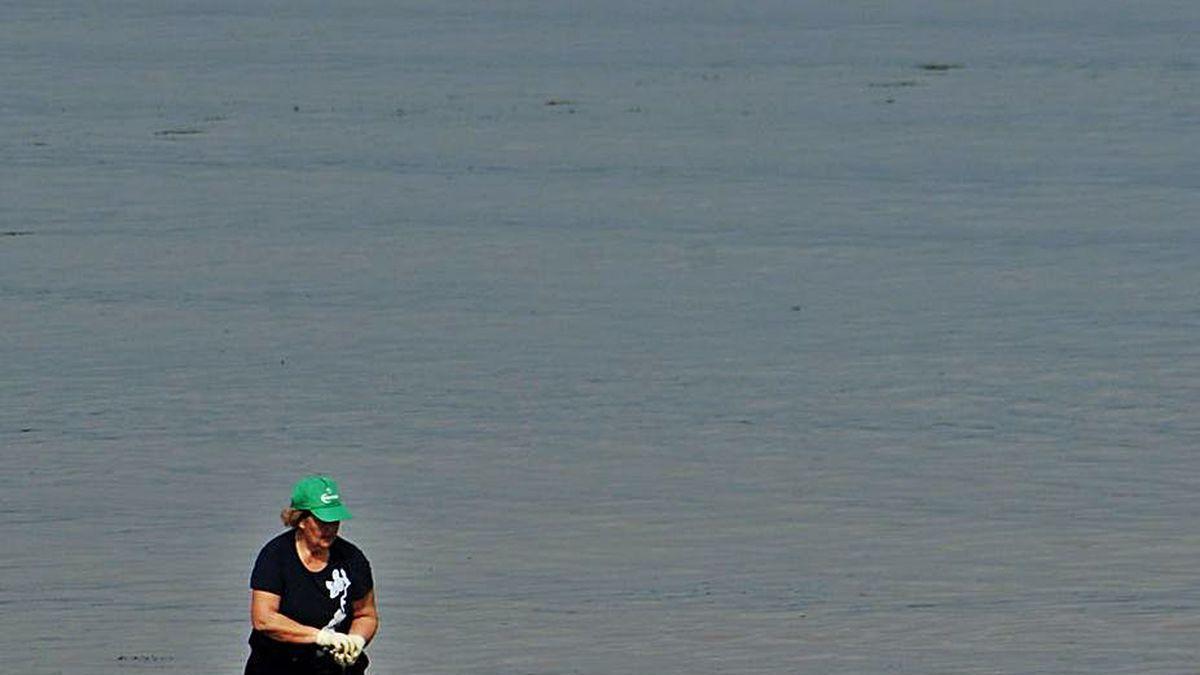 Mariscadoras trabajando en una playa de Vilanova.