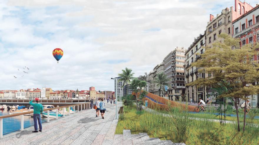 Un largo paseo con dos ambientes y dotado de una estructura cubierta para eventos