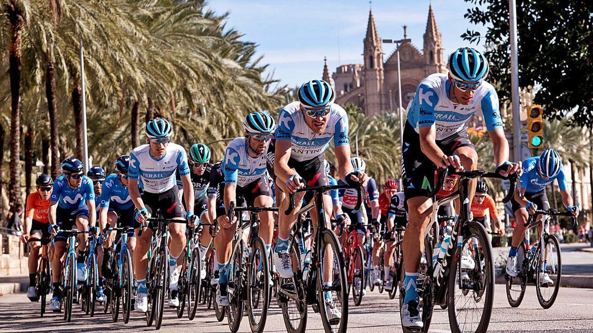 El pelotón durante la última etapa de la Challenge Ciclista a Mallorca en febrero de 2020.