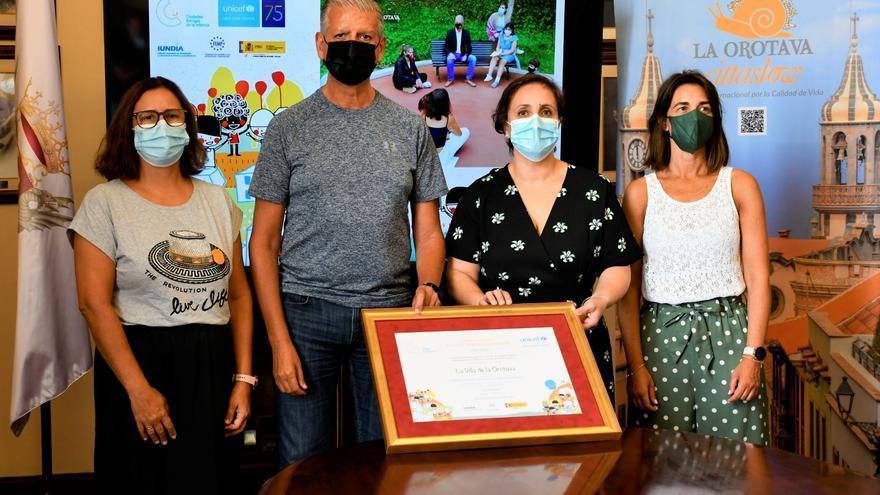 Unicef reconoce a La Orotava como una Ciudad Amiga de la Infancia