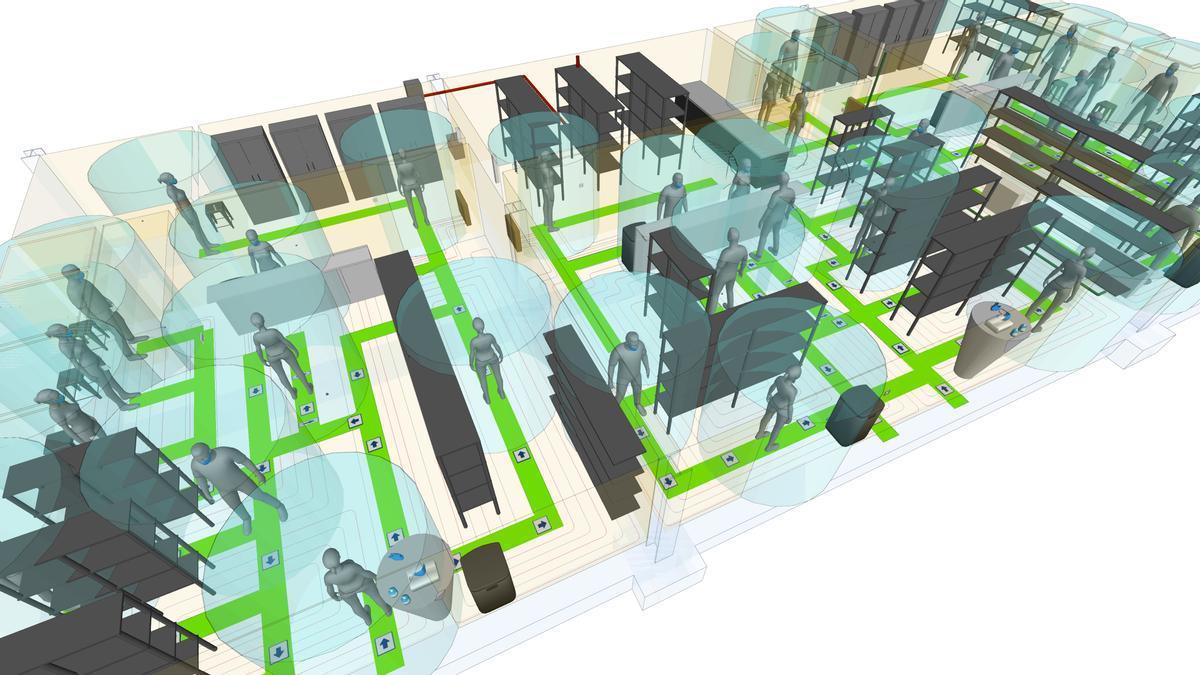 Vista general de una simulación con Open BIM Covid-19 en un establecimiento