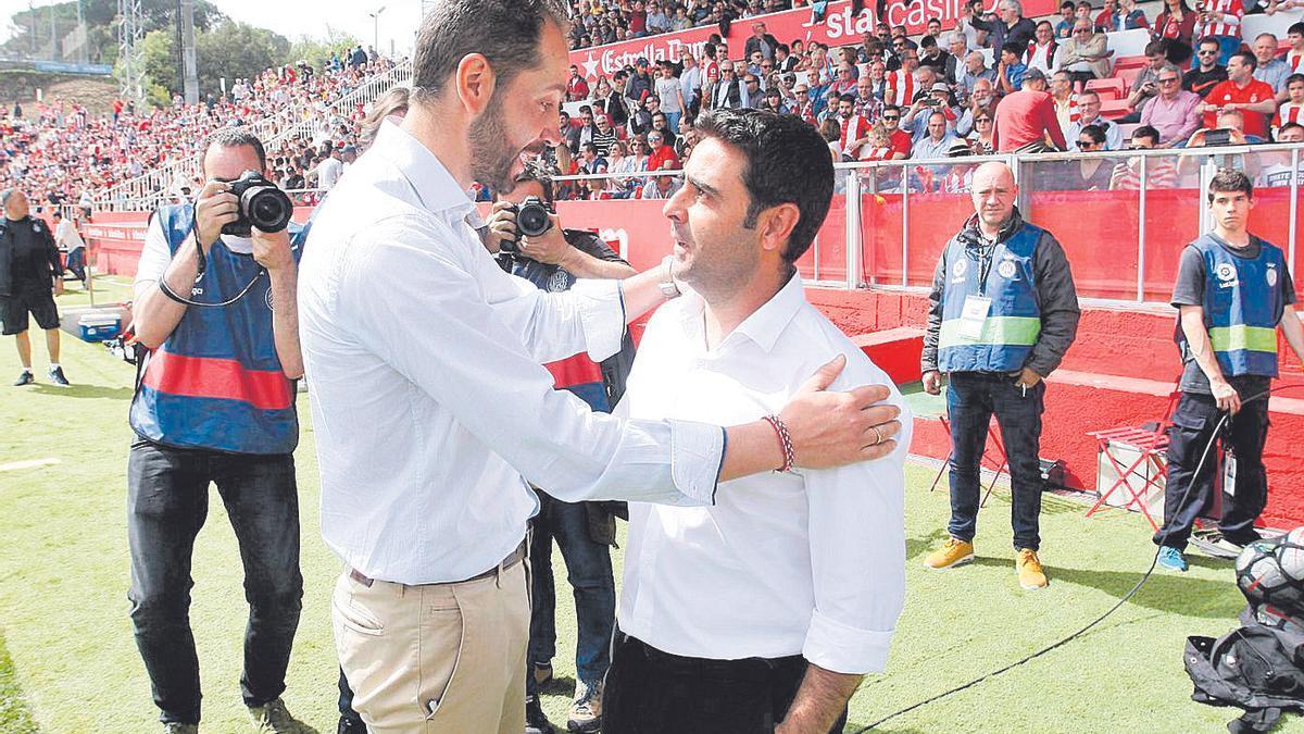 Pablo Machín saludant David Gallego